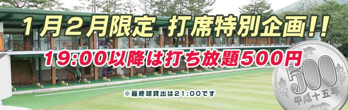 1月2月限定打席特別企画! 19時以降は打ち放題500円!!
